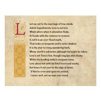 Soneto 116 de Shakespeare (CXVI) no pergaminho Panfleto