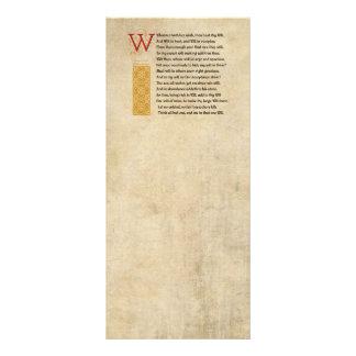 Soneto 135 de Shakespeare (CXXXV) no pergaminho 10.16 X 22.86cm Panfleto