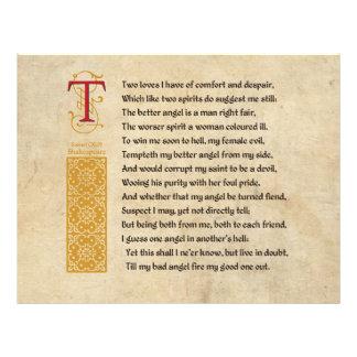 Soneto 144 de Shakespeare (CXLIV) no pergaminho Flyer 21.59 X 27.94cm