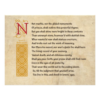 Soneto 55 de Shakespeare (LV) no pergaminho