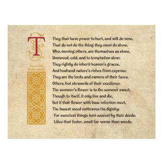 Soneto 94 de Shakespeare (XCIV) no pergaminho Panfleto Personalizados