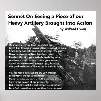 Soneto da artilharia pesada de Wilfred Owen Pôster