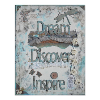 Sonhe, descubra, inspire o poster dos meios mistos