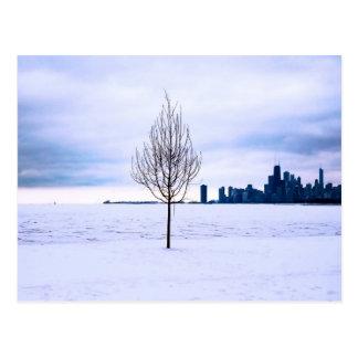 Sonho branco - inverno em Chicago, cartão