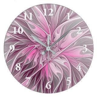 Sonho cor-de-rosa da flor do Fractal, teste padrão Relógio Grande