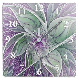 Sonho da flor, arte verde roxa abstrata do Fractal Relógio Quadrado