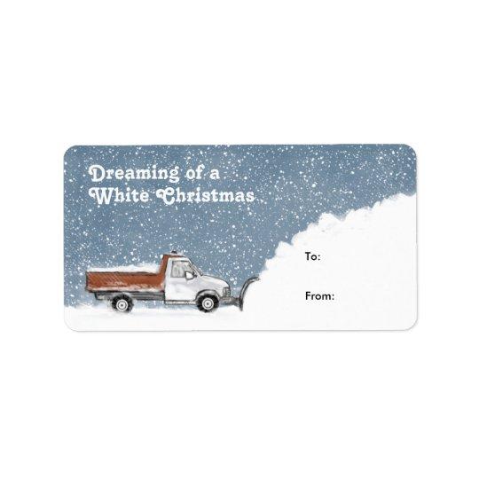 Sonho de Tag de um presente do Snowplow do White Etiqueta De Endereço