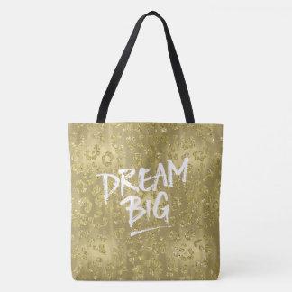 Sonho Glam do impressão do leopardo do ouro grande Bolsas Tote
