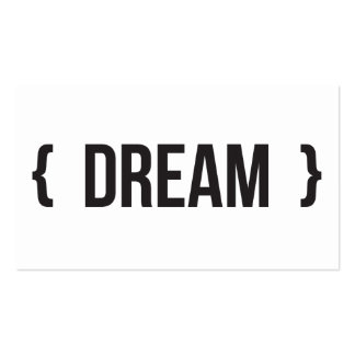 Sonho - suportado - preto e branco cartoes de visitas