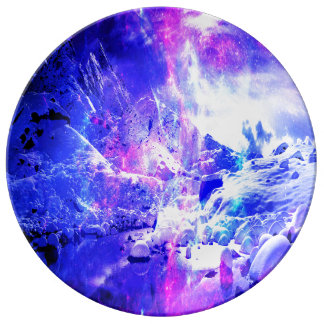 Sonhos Amethyst da noite de Yule Prato De Porcelana