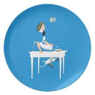 Sonhos azuis da bolha prato