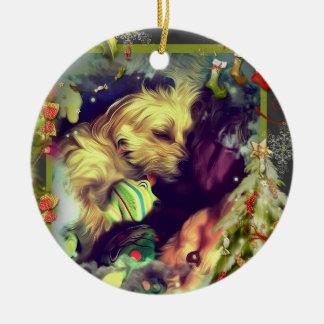 Sonhos do ornamento redondo de Toyland do Natal
