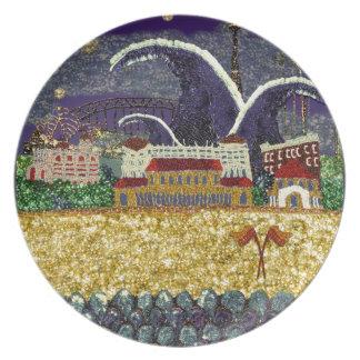 Sonhos roxos do Sequin do embaçamento | da placa | Prato De Festa