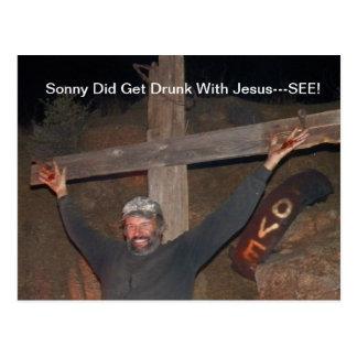Sonny obteve o bebado com cartão de Jesus Cartão Postal