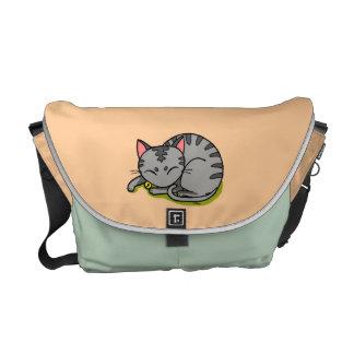Sono cinzento bonito do gato bolsa mensageiro