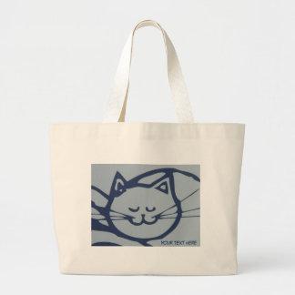 Sono feliz azul do gato sacola tote jumbo