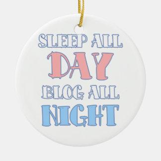Sono o dia inteiro, do blogue citações Blogging Ornamento De Cerâmica Redondo