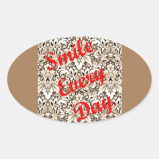 Sorri cada dia adesivo oval