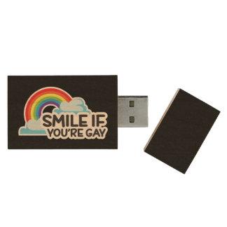 Sorria se você é orgulho alegre do arco-íris LGBT Pen Drive De Madeira