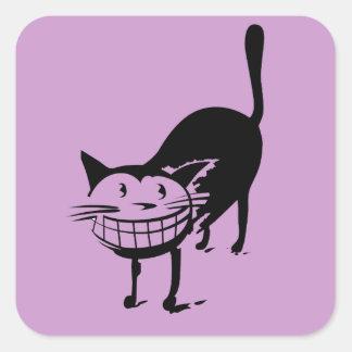 Sorrindo o gato adesivo quadrado