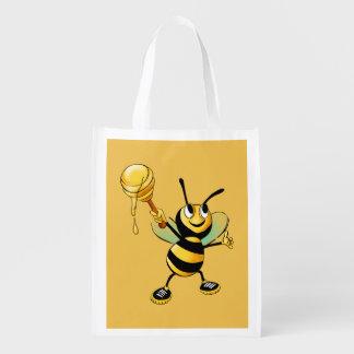 Sorrir Bumble a abelha com uma colher do mel Sacola Ecológica Para Supermercado