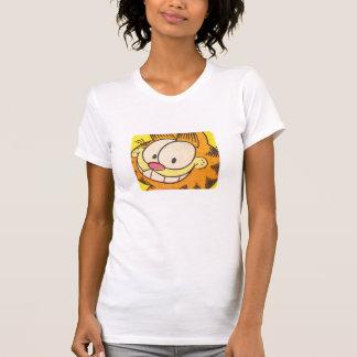 Sorrir forçadamente de Garfield a camisa das mulh Camisetas