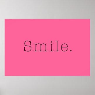 Sorriso. Citações claras do sorriso do rosa quente Poster