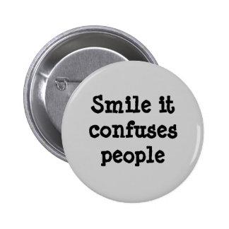 Sorriso confunde pessoas do botão bóton redondo 5.08cm
