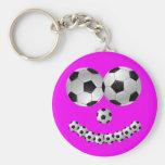 Sorriso cor-de-rosa do futebol chaveiros