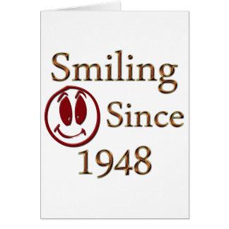 Sorriso desde 1948 cartão comemorativo