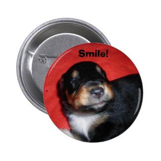 Sorriso do filhote de cachorro bóton redondo 5.08cm