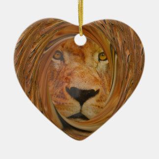 Sorriso do leão ornamento de cerâmica coração