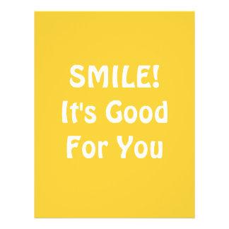 SORRISO! É bom para você. Amarelo Panfleto