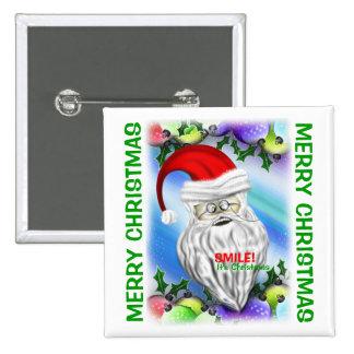 Sorriso é botão de Papai Noel do Natal Bóton Quadrado 5.08cm