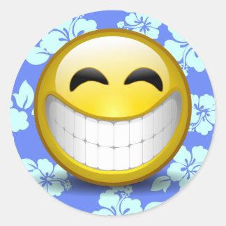 Sorriso grande adesivo redondo