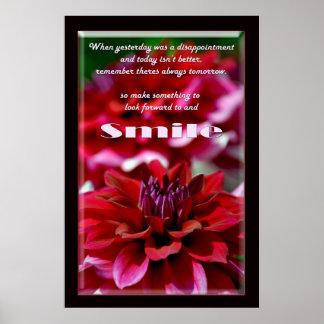 Sorriso inspirado e flores poster