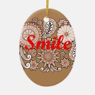 Sorriso Ornamento De Cerâmica Oval