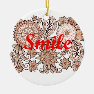 Sorriso Ornamento De Cerâmica Redondo