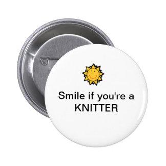 Sorriso se você é um knitter bóton redondo 5.08cm