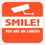Sorriso você está na câmera adesivos quadrados