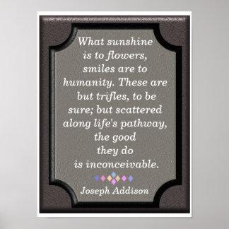 Sorrisos - citações de Jospeph Addison - impressão