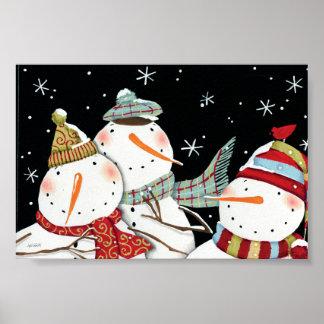 Sorrisos modernos dos bonecos de neve pôster