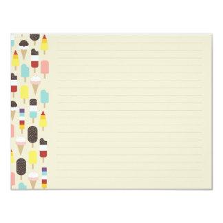 Sorvete & cartão de nota liso congelado dos convite 10.79 x 13.97cm