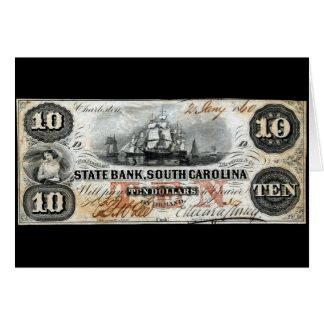 South Carolina 1860 nota de dez dólares Cartão Comemorativo