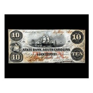 South Carolina 1860 nota de dez dólares Cartão Postal