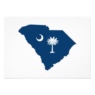 South Carolina em azul e em branco Convite Personalizado