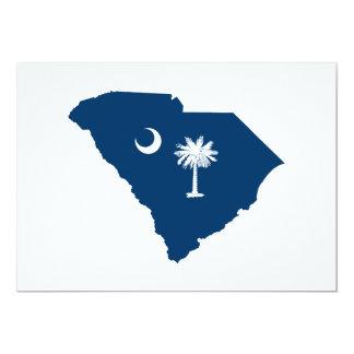 South Carolina em azul e em branco Convite 12.7 X 17.78cm