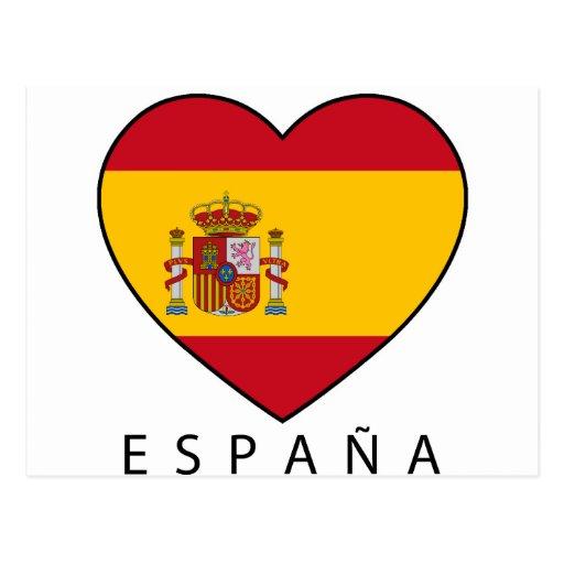 Spain Heart with black ESPANA Cartões Postais