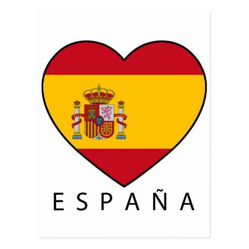 Spain Heart with black ESPANA Cartao Postal
