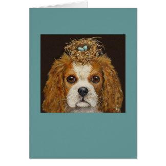 Spaniel de rei Charles descuidado com cartão do